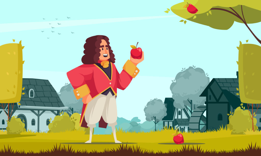 famous-scientist-newton-composition-with-outdoor-scenery-doodle-character-vintage-outfit-holding-apple
