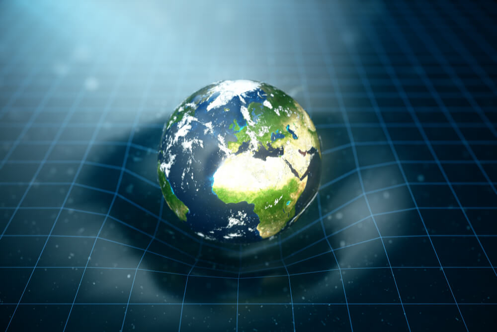 illustration-earth-s-gravity-bends-space-around-it-with-bokeh-effect-concept-gravity-deforms-space-time-grid-around-universe-spacetime-curvature-elements-this-image-furnished-by-nasa