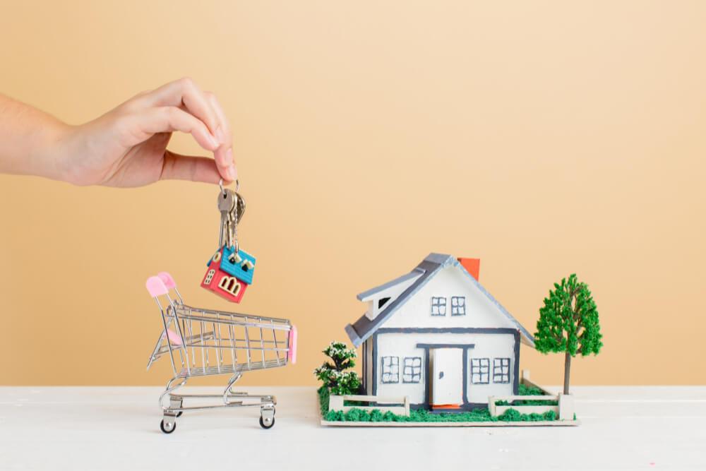 property-market-with-house-mini-house-shopping-cart